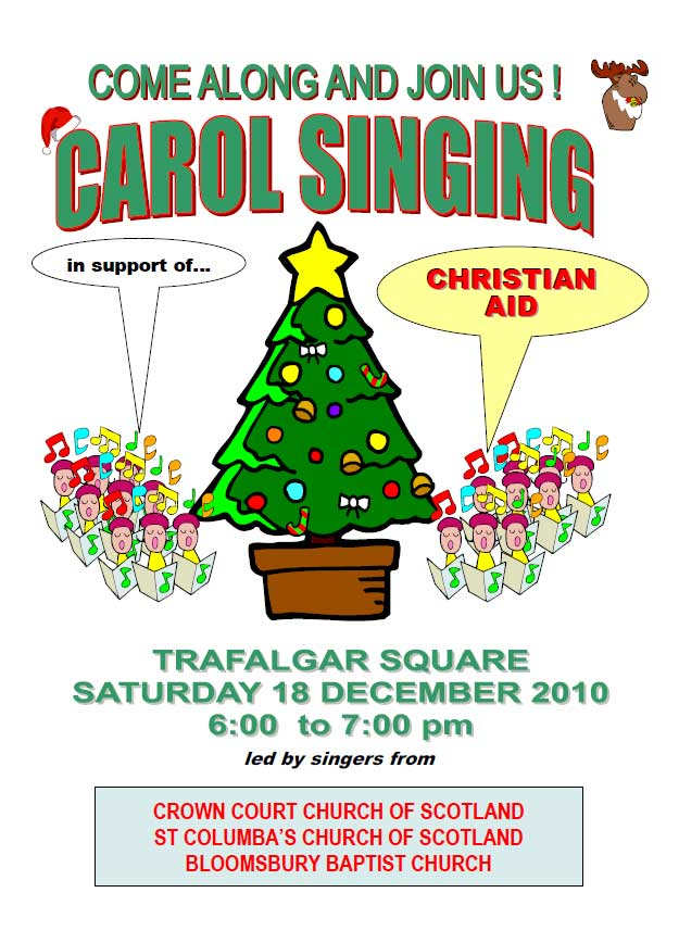 Poster for carol singing in Trafalgar Square on 18 December