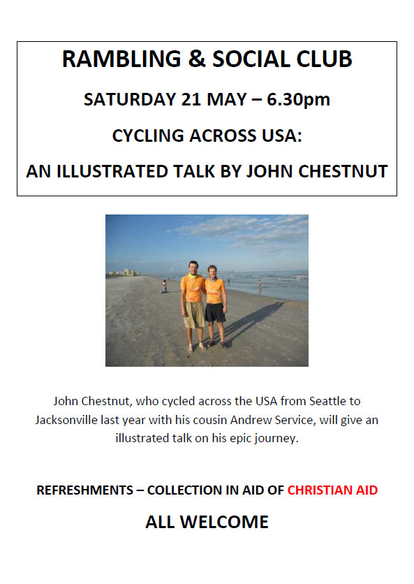 Poster for Cycling across USA talk on 21 May at 6.30pm