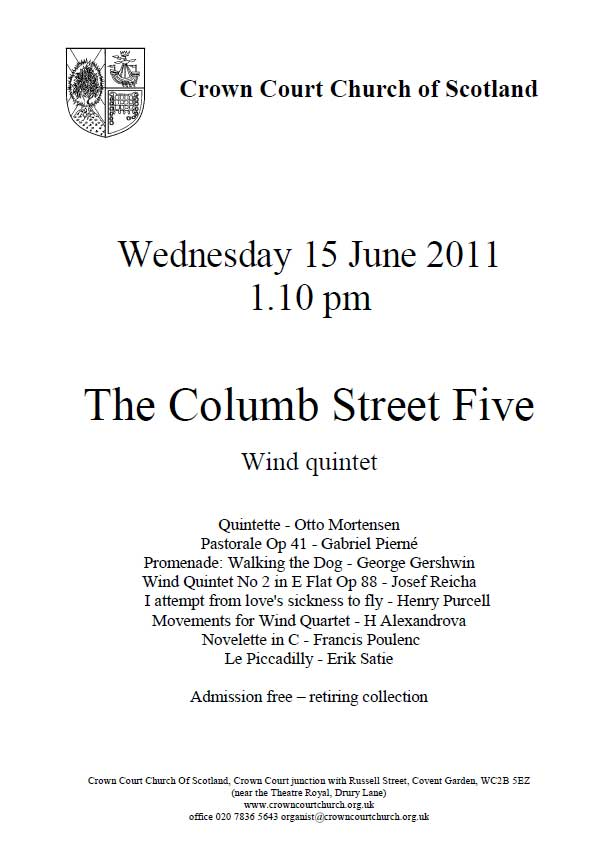 Poster for Columb Street Five concert