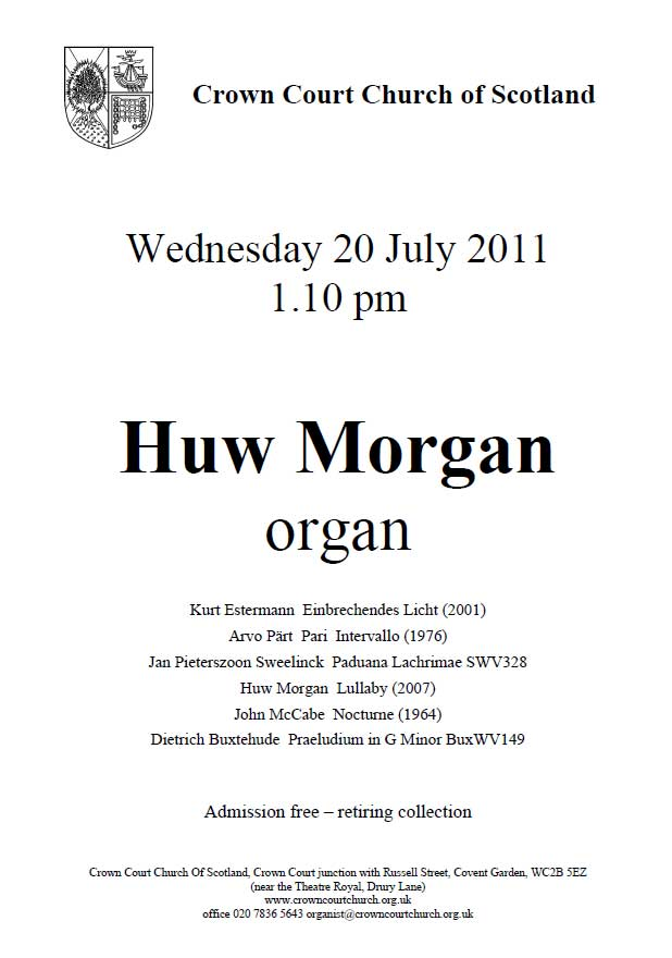 Poster for concert on 20 July 2011
