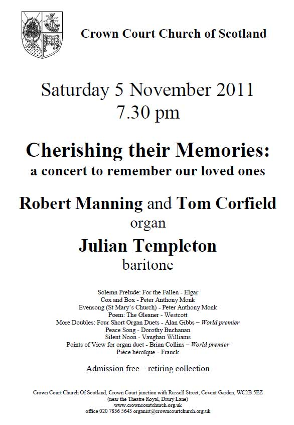 Poster for 5 November concert