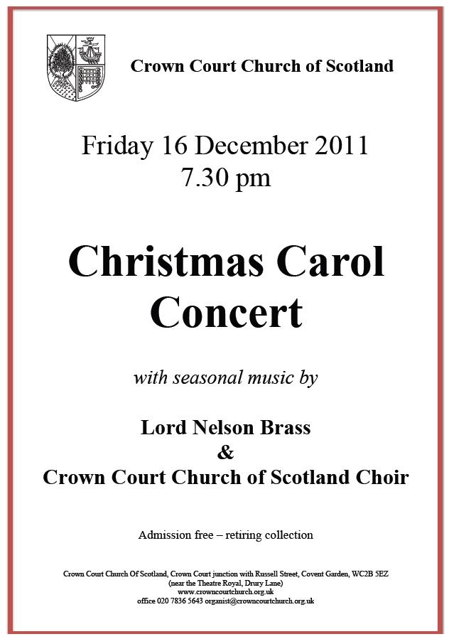 Poster for Carol Concert on 16 December