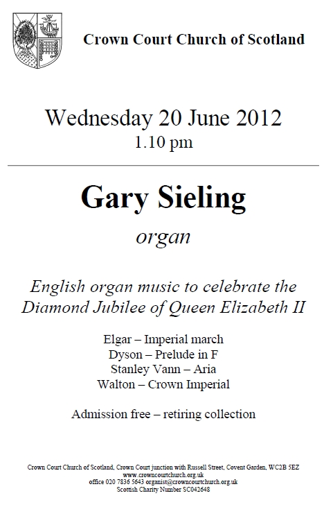 Poster for organ music concert on 20 June
