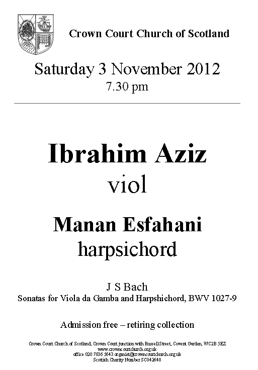 Poster for Viola da Gamba and Harpsichord concert