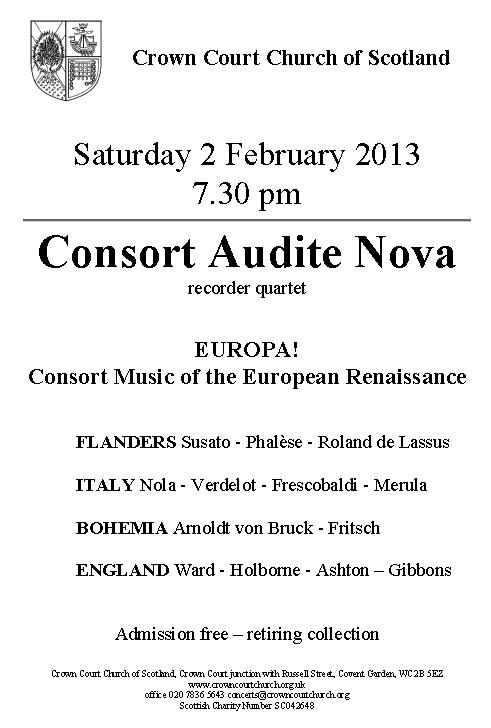 Poster for Consort Audite Nova on 2 Feb 2013