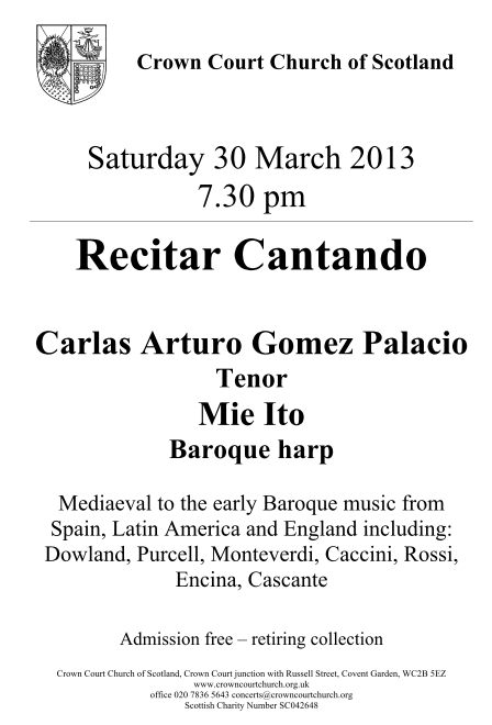 Poster for Duos Tonos concert on Saturday 30 March