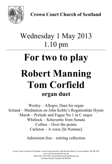 Poster for 1 May organ duets