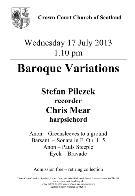Poster for Baroque Variations concert on 17 July