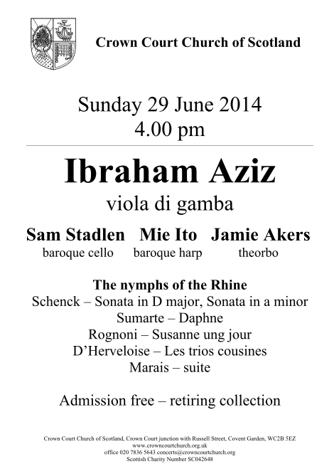 Poster for 29 June concert