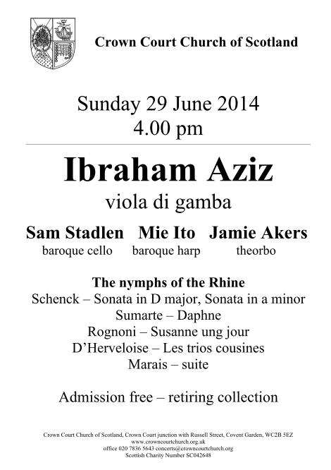 Poster for 29 June concert