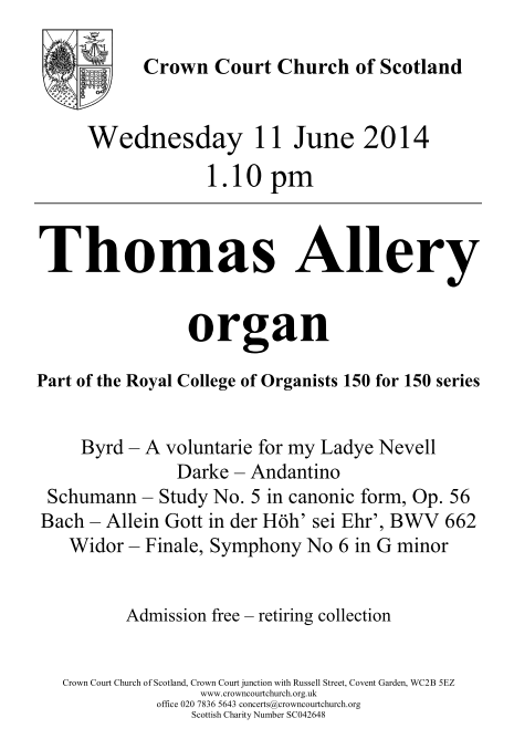 Poster for 11 June organ concert