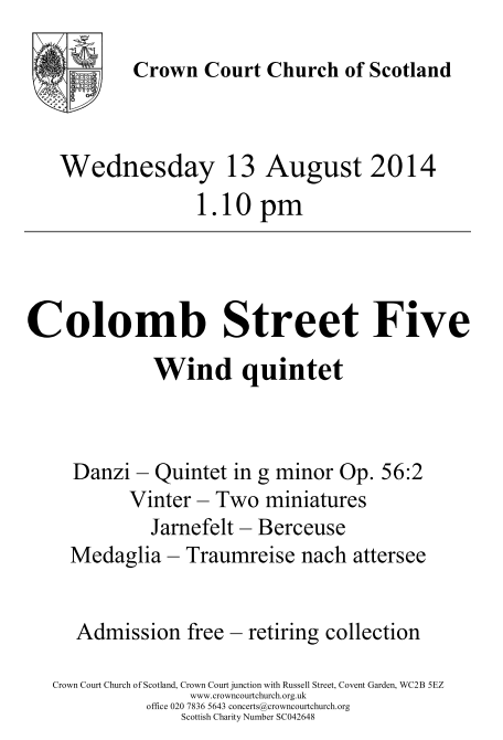 Poster for concert on 13 August