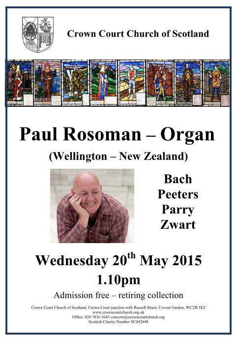 Poster for 20 May organ concert