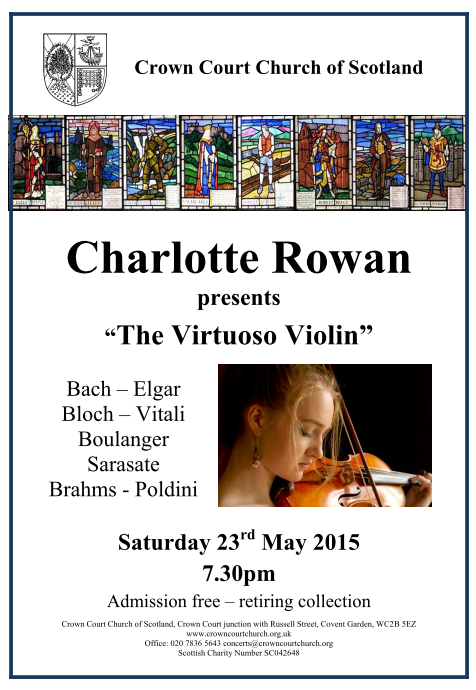 Poster for 23 May violin concert