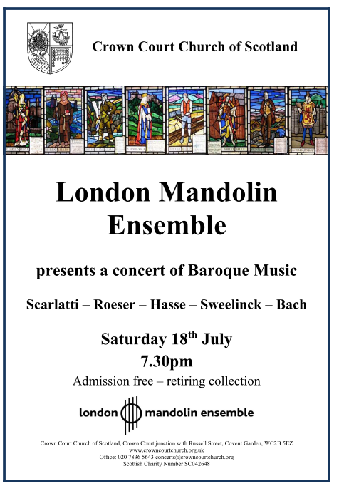 Poster for London Mandolin Ensemble concert