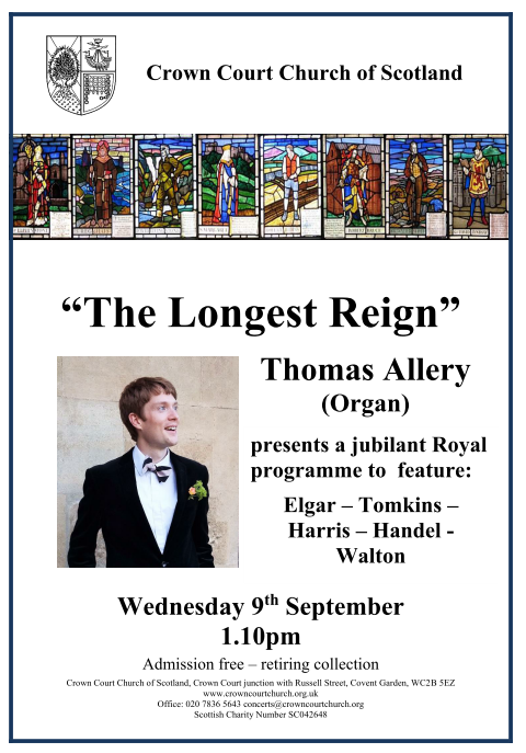 Poster for 9 September lunchtime concert