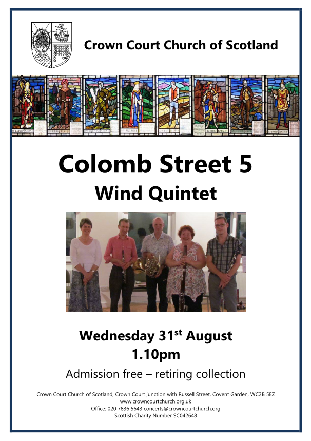 poster for 31 August lunchtime concert