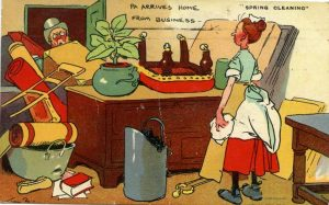 Old postcard cartoon of spring cleaning