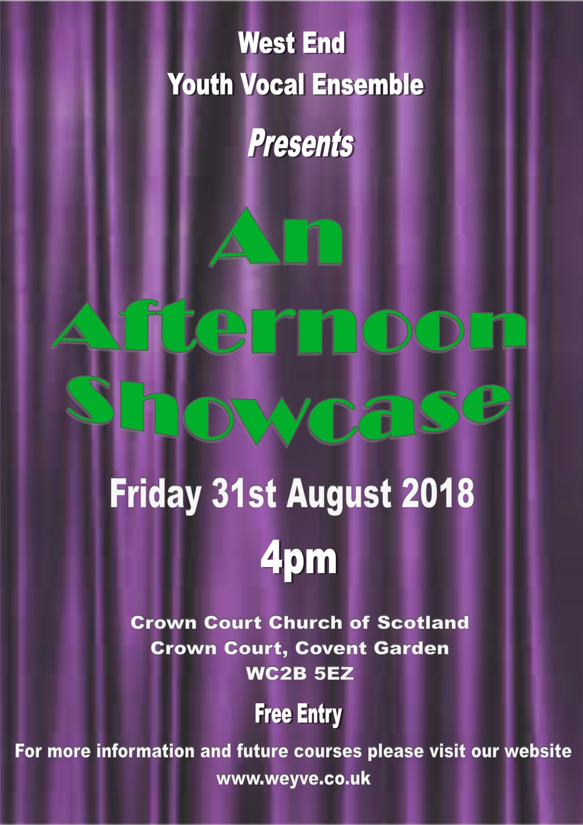 WEYVE Afternoon Showcase poster for 31 August 2018