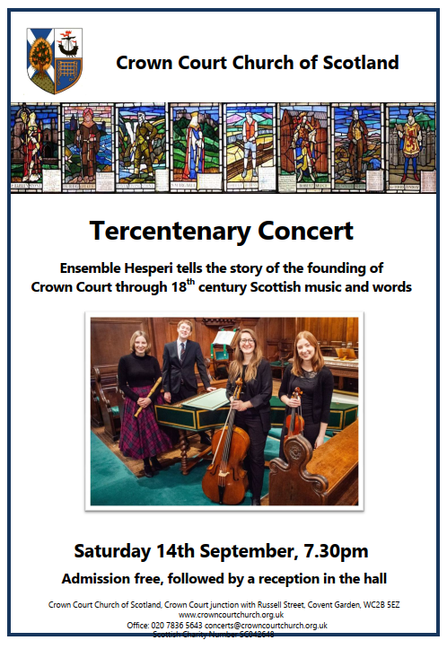 Poster for Tercentenary Concert on 14 September