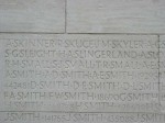 Samuel Small's name on the Vimy Memorial