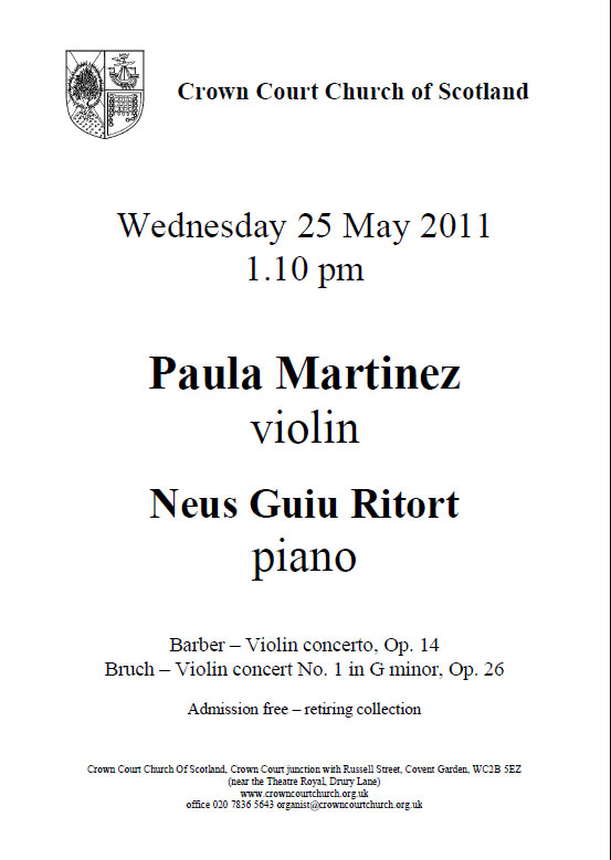 Poster for concert on 25 May