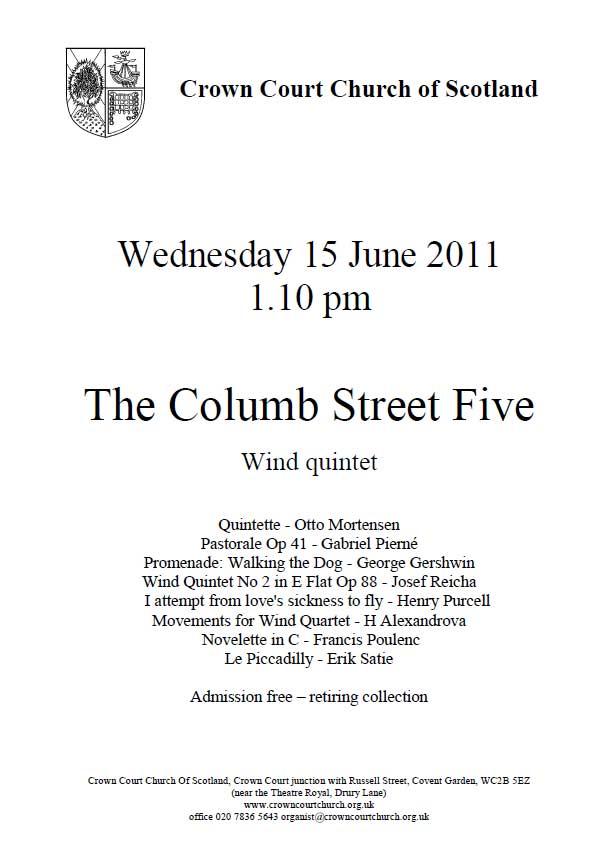 Poster for Columb Street Five concert