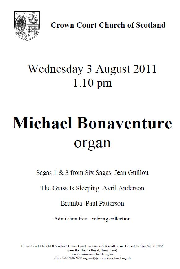 Poster for organ concert on 3 August 2011