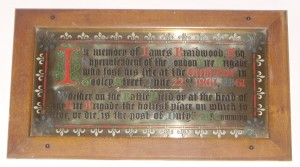 The memorial plaque in the church to James Braidwood