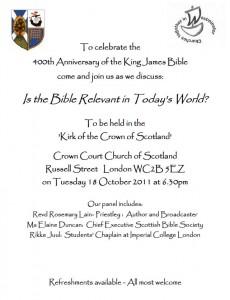 Poster for King James Bible debate