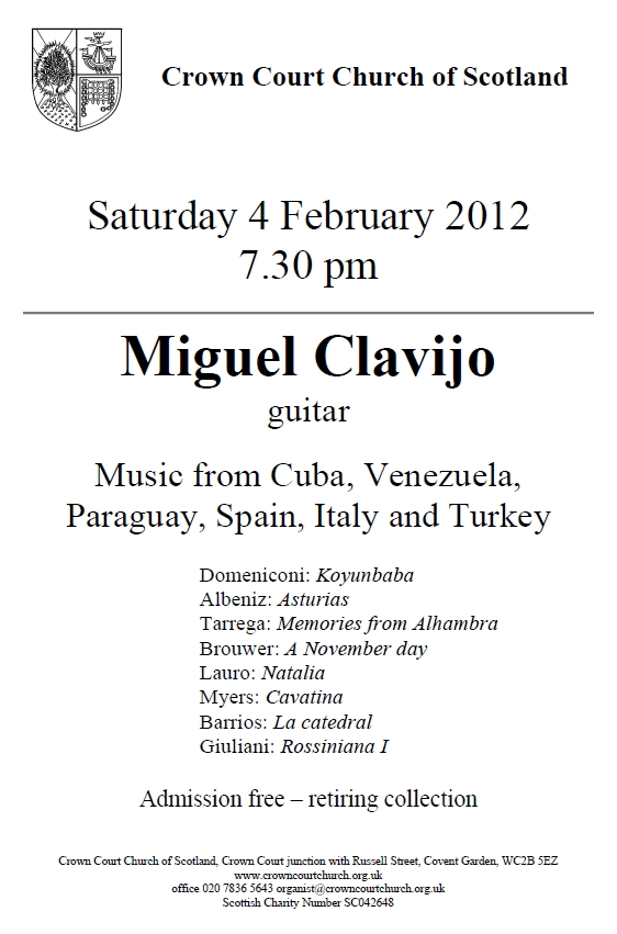 Poster for concert on 4 February