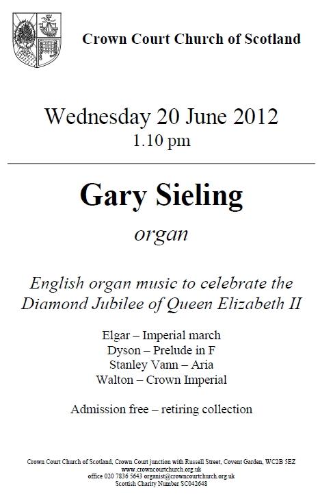 Poster for organ music concert on 20 June