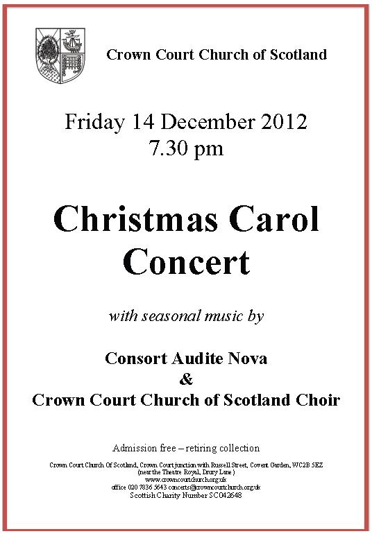Poster for carol concert on 14 December 2012