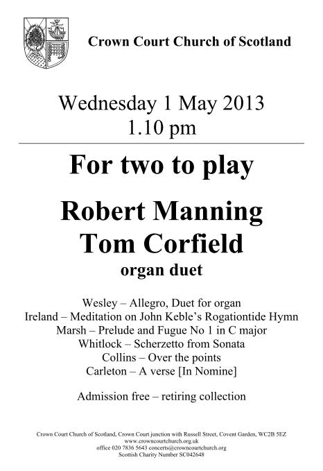 Poster for 1 May organ duets