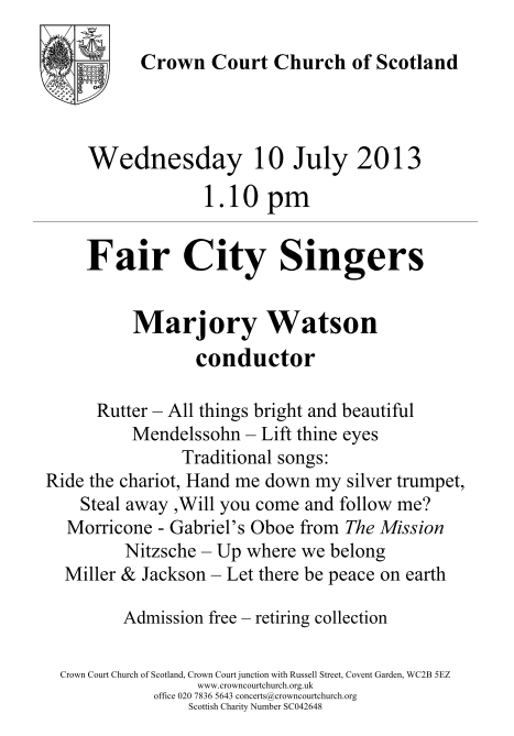 Poster for Fair City Singers concert on 10 July