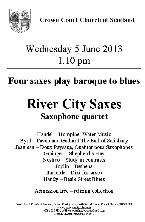 Poster for River City Saxes concert on 5 June