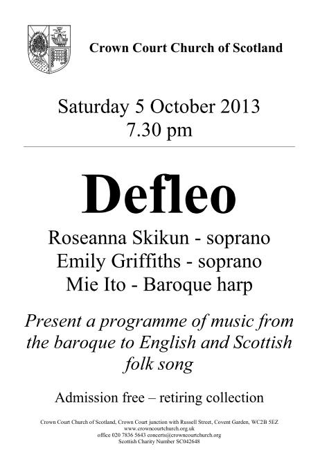 Poster for 5 October concert