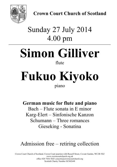 Poster for 27 July concert