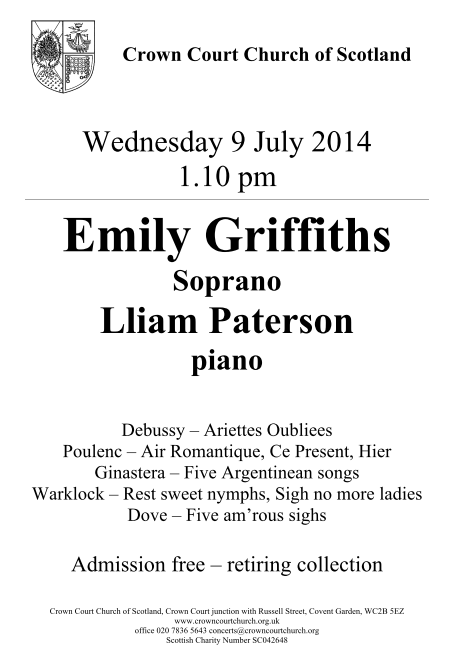 Poster for 9 July Concert