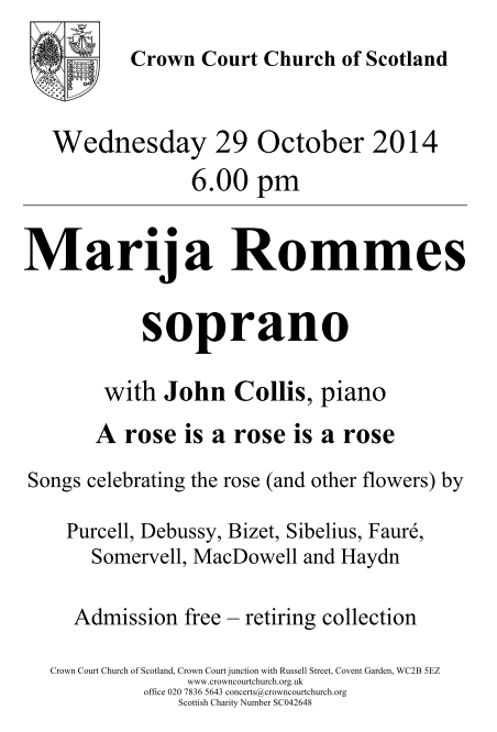 Poster for 29 October concert