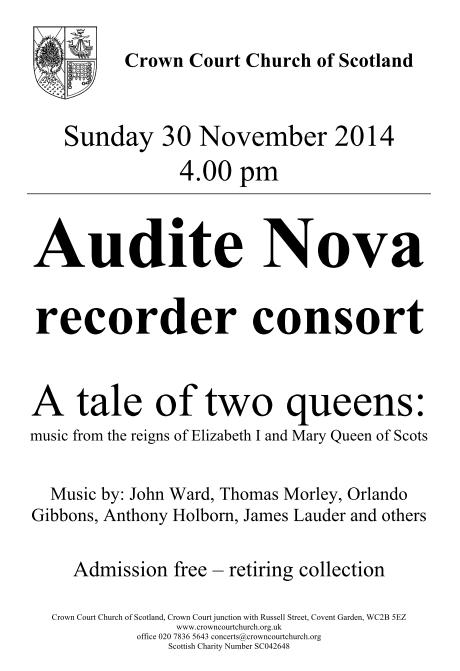 Poster for 30 November concert