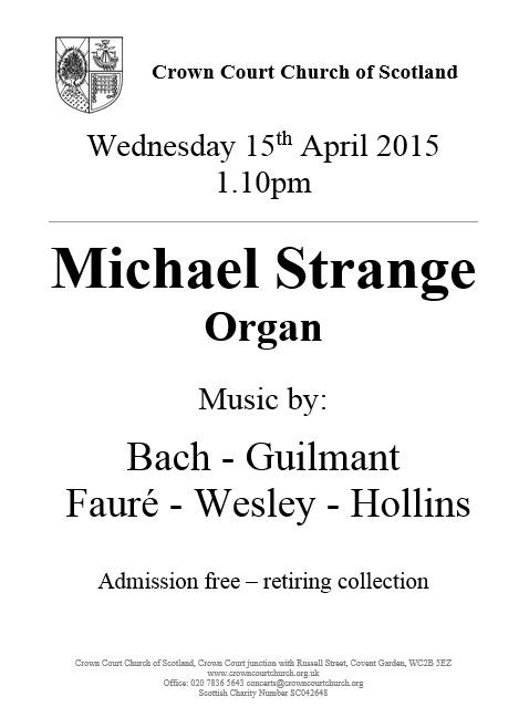 Poster for concert on 15 April