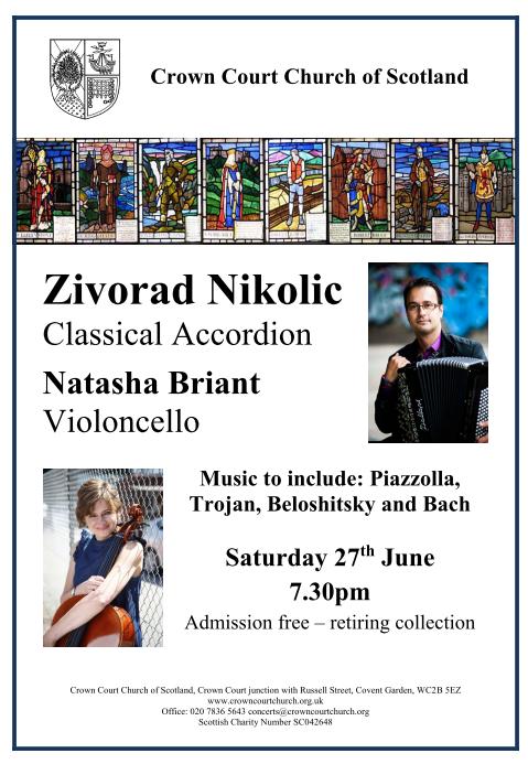 Poster for 27 June concert