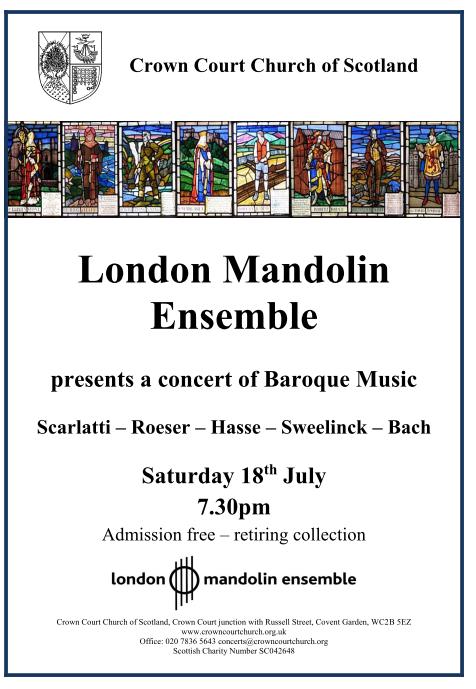 Poster for London Mandolin Ensemble concert