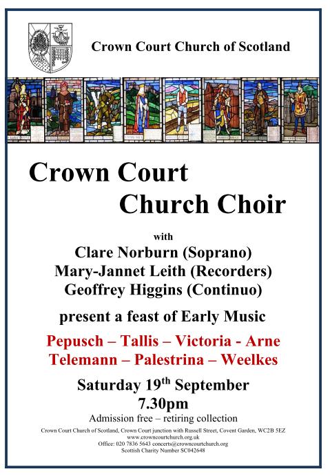 Poster for 19 September concert