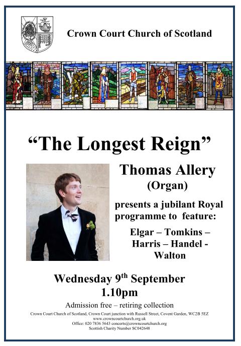 Poster for 9 September lunchtime concert