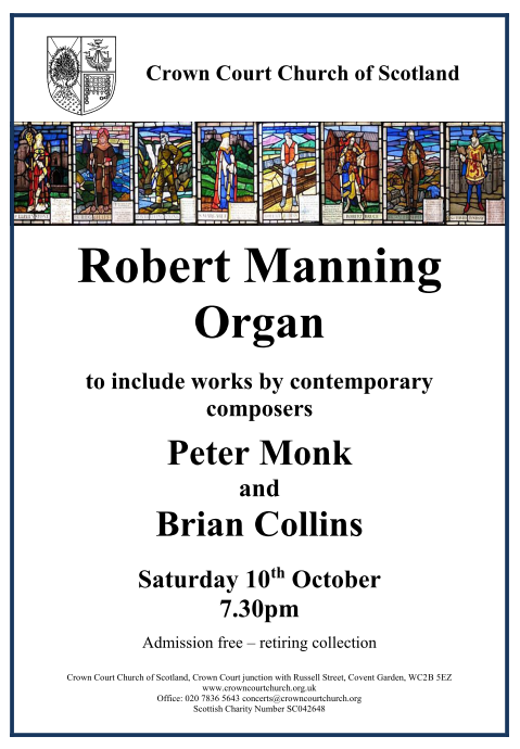 Poster for Organ concert on 10 October