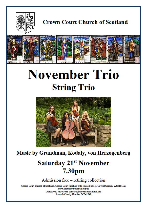 Poster for 21 November concert