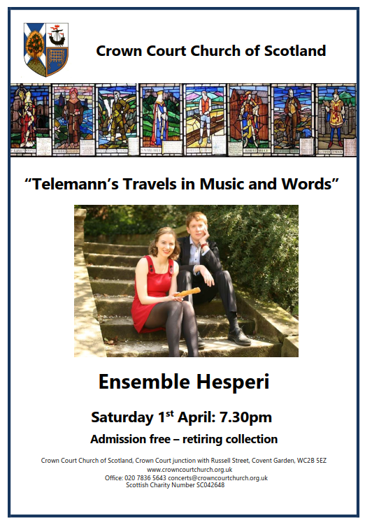Poster for concert on Saturday 1 April