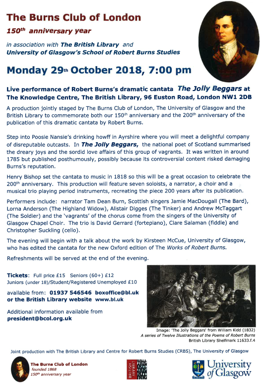 Poster for Jolly Beggars Cantata on 29 October